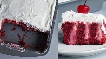Boozy Red Velvet Poke Cake